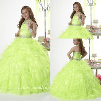 Wholesale images pretty little dresses for girls resale online - Green Princess Girl s Pageant Dress Good Quality Organza Beaded Party Cupcake Flower Girl Pretty Dress For Little Kid
