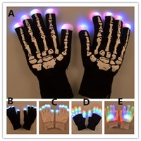 Wholesale Led Flashing Fingertip Gloves Wholesale - 5stykes Fashion Led flash Gloves finger fingertip palm Skeleton ligh up Glove Holloween Christmas New Year Party Masquerade Performace Bar