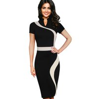 Wholesale Dress Long Sleeves Work - Celebrity Womens Vintage Geometric Contrast Colorblock Slimming Wear To Work Office Business Casual Party Pencil Sheath Bodycon Dress 9011CL