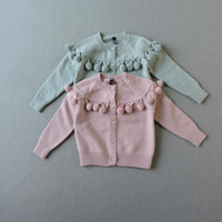 Wholesale Hole Cardigans - Girls Ball Sweater Kids Clothing 2017 Autumn Knitting Tassels Button Cardigan Korean Fashion Kids Sweater HX-675