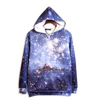 Wholesale Galaxy Print Hoodie Womens - 2016 new big size loose hoodie mens womens classic hiphot galaxy hoodie 3D print casual five size high quality sweatshirts free shipping
