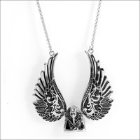 Wholesale Cast Stainless Steel Grades - Top Grade Men's Casting Stainless Steel Wing Pendant Necklace Black Silver Fashion Jewelry Cool Xmas Gift
