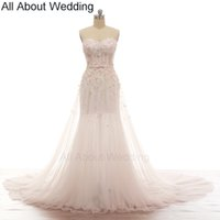 Wholesale Mermaid Handmade Flower Sweetheart - Pink Flower Romantic Wedding Dresses Illusion Corset Exquisite Handmade Beading Illusion Skirt Leg Soft Tulle with Scarf