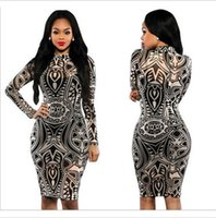 Wholesale Tribal Tattoos Sleeves - 2016 New Women Tribal Tattoo Print Long Sleeve Bodycon Party Club Mini dress New Good Quality Free Shipping
