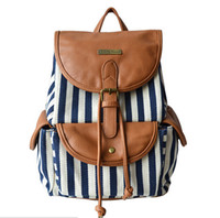 Wholesale Ladies Leather Drawstring Bag - National Striped Printed Women Leather+Canvas Backpack College Preppy School bag Ladies Drawstring Backpacks Flower Sack Mochila