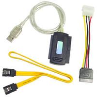 Wholesale Usb Ata - SATA IDE to USB 2.0 USB 2.0 to IDE SATA 5.25 S-ATA 2.5 3.5 Adapter Cable Free Shipping