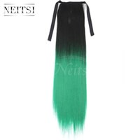Wholesale Green Ponytail - Neitsi Green# 20inch Synthetic Clip in Ponytail Extensions Straight Synthetic Hair Ponytails for Cosplay Party Casual Synthetic Ponytails