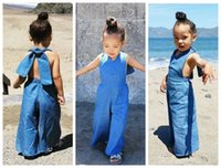 Wholesale Baby Denim Overalls - 2016 fashion kid girls jumpsuit baby overalls jeans cotton bodysuit girl halter neck backless boot cut pants denim overalls bells wholesale