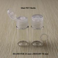 Wholesale Cream Pet Packages - 50PCS 10ml D23*H56mm PET Cream Emulsion Bottle Vials Lotion Bottle Cosmetic Packaging Makeup Container Transparent Flip Lid
