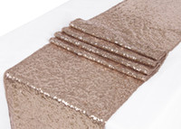 Wholesale Table Glitter For Weddings - Free Shipping 1pcs 30*275CM Champagne Glitter Sequin Table Runner For Christmas Wedding Party Banquet Home Decoration