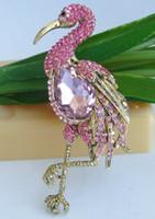 Wholesale flamingo brooch resale online - Freebee quot Gold tone Pink Rhinestone Flamingo Brooch Pin Pendant C5