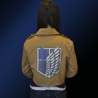 Wholesale Levi Cosplay Costume - High Quality Attack on Titan Shingeki no Kyojin Legion Cosplay Costume Jacket Coat Plus Size Eren Levi for Halloween Party