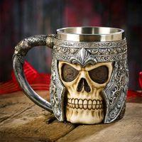 Wholesale Helmet Ce - 3D Stainless Steel Resin Skull Mugs Tankard Striking Skull Warrior Tankard Viking Skull Beer Mug Gothic Helmet Drinkware Vessel
