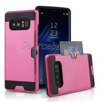 Para iPhone X 8 7 plus Slot de cartão Escovado Slim Armor Neo Hybrid Case para Galaxy Note8 S8 S7 J7 2-em-1 Layers Cover