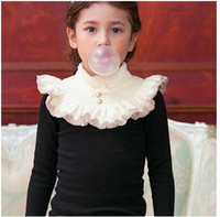 Wholesale Embroidery Long Sleeve Lace Shirt - Children T-shirts girls velvet lace embroidery high collar tees Kids falbala long sleeve bows thicken tops Girls warm clothes C1894