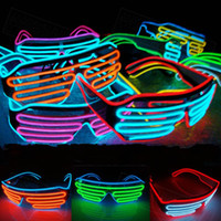 Wholesale Wholesale Props For Parties - Multicolor Eyeglass Cold Lights EL Wire LED Light Glasses Party Supplies Cheerleading Cheer Props For Christmas Gift 15oy C R