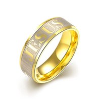 Wholesale Design Gold Letter Ring - New Design High quality large size 8mm 316 Titanium Steel 18K silver gold plated jesus cross Letter bible wedding band ring men women