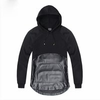 assassins creed black clothes al por mayor-Novedad Negro Assassins Creed Ropa Patchwork Diseño PU Leather Men Hoodies Punk Rock Pullover Personalidad Tops