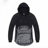 ingrosso assassini creed vestiti neri-Novità da uomo nero Assassins Creed Patchwork Design PU Leather Uomo Felpe con cappuccio Punk Rock Pullover Personality Top