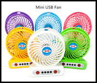 Wholesale Strong Cool Usb - Unique Design Portable Rechargeable LED Fan air Cooler Mini Operated Desk USB strong winds third gear handheld electric fan DHL Free