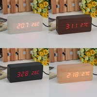 Wholesale Antique Wooden Tables - Large Size LED Wooden Alarm Clocks with Thermometer Rectangle Table Clocks Big Numbers Digital Clock Classic LED Wooden Clocks