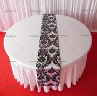 Wholesale Wholesale Flocking Table Runner - White & Black Flocking Taffeta Table Runner For Wedding Decoration