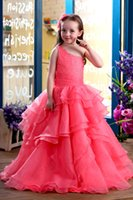 Wholesale Peach Baby Dress - One Shoulder Crystals Beaded Arabic 2017 Flower Girl Dresses Peach Organza Tiered Ruffles Kids Evening Gowns For Weddings Baby Party frocks