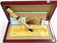Wholesale dragon pen ball - Jinhao Two Dragon Play Pearl Metal Roller Ball Pens Ballpoint Pen with Original Box for Gift Free Shipping