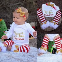 Wholesale Winter Outfit For Children - Baby Christmas Pajamas Newborn Clothes Baby Boutique Girl Winter Fall Clothing For Kids Infant Romper Suit Toddler Outfit Children Sets