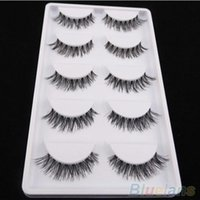 Wholesale Eyelashes Pairs - Wholesale-55 Pairs Lot Black Cross False Eyelash Soft Long Makeup Eye Lash Extension