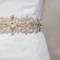 elastische gürtel hochzeit großhandel-Atemberaubend! Braut Schärpen Perlen schillernde Hochzeit Gürtel elastischem Satin Perle Kristall Braut Accessoires für Hochzeitskleid