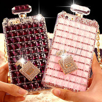 Wholesale iphone5 case purple - Bling Rhinestone Soft TPU Case For iphone6 6s plus Luxury Perfume Bottle Fitted Case For iphone5 5s With Chain