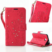 Wholesale Iphone4 Protective Cover - Diamond Bling Rhinestone butterfly loves flower PU leather pouch cover case for Nokia 650 protective case cover for LG G5 iphone4 I5 6