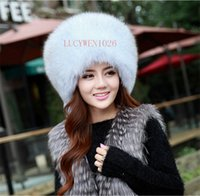 Wholesale Furry Winter Hats - Wholesale-Real Genuine Fully Shadow fox Pelt Fur Women's Mongolian Princess Winter Warm Hat Bomber Russian Ushanka Cossack Trapper Furry