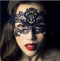Wholesale Women Sexy Halloween Costumes School - Masquerade sexy lace mask black Costume party special wacky mask Half mask charming Cosplay dinner mask, fox mask