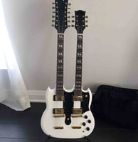 Wholesale Guitar Neck Rosewood Fingerboard - free shipping Personal Tailor white Double Neck 6&12 Strings Electric guitar real bridge Gib Rosewood Fingerboard Can customization