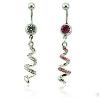 Wholesale Spiral Belly - Body Piercing Fashion Belly Button Rings 316L Stainless Steel Dangle 2 Color Rhinestone Spiral Navel Rings Jewelry