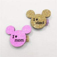 Wholesale Moms Cartoons - 20pcs  Lot Pink Glitter Felt I Love Mom Hair Clip Mother 'S Day Father 'S Day Animal Barrette Gold Cartoon Hairpin Mouse I Love