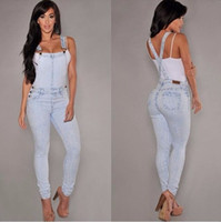 Wholesale Denim Overalls Woman - Denim Overalls Women 2016 Hot Summer Jeans Denim Jumpsuits and Rompers Casual Light Blue Full Pocket Bodycon Denim Overalls