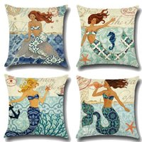 Wholesale Life Style Case - 4 Styles 45*45cm Sea Life Little Mermaid Pillow Case Linen Cotton Square Throw Pillowcase Home Sofa Bedding Home Textiles CCA7733 50pcs