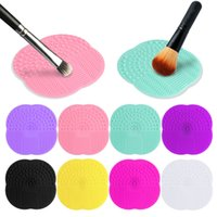 Wholesale Silicone Pads Pc - Wholesale 10 PC 8 Colors Silicone Cleaning Cosmetic Make Up Washing Brush Gel Cleaner Scrubber Tool Foundation Makeup Cleaning Mat Pad Tool