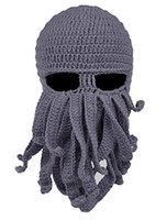 sombreros de pulpo gorras al por mayor-2018 Unisex Pulpo de lana de punto Máscaras para la cara de esquí Fiesta de Halloween Sombrero de punto de calamar Gorro Beanie Regalos frescos Máscara