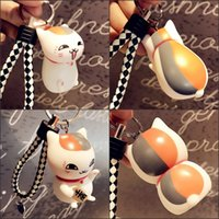 Wholesale Silicone Men Dolls For Women - Lovely Cartoon Maneki Neko Lucky Cat Mini 3D Car Doll Toy Pendant Keychain For Children'S Gift Purse Charms Pendant Free DHL B770L