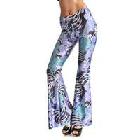 Wholesale Free Pattern Women Trousers - Womens Fashion Carp Printed Flare Pants For Woman Casual Digital Printing Pattern Skinny Plus Size Long Pants Leggings Trousers