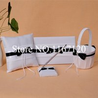 Wholesale Guest Book Black White - Free Shipping,White and Black Bowknot Crystal Wedding Guest Book Pen Holder Ring Pillow Basket Set Wedding Ceremony Decor(N6)