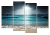 Wholesale Seaside Wall Decor - 4 Piece Seaside Castle Landscape Canvas Print Painting Home Decor Wall Art Picture For Living Room Modular picture w 0698