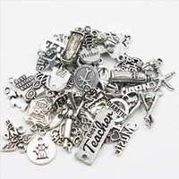 Wholesale Vintage Metal Findings - Mixed Vintage Alloy Charms Expandable Bangle Charms Metal DIY Finding Chain Charms 50pcs lot AAC