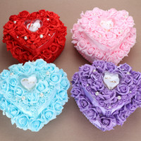 Wholesale Double Cake Box - Double cake ring pillow Heart-shaped european-style Korean wedding wedding pink purple blue red ring pillow wedding ring box