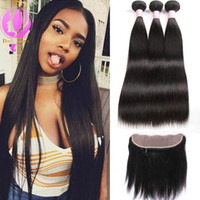 Wholesale Brazilian Wave Prices - Brazilian Virgin Human Hair 3 Bundles With 13 x 4 Lace Frontal Straight Wave Weft 100% Human Hair Extensions Natural Color Wholesale price
