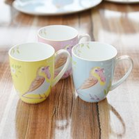 Wholesale Children Breakfast - 350ml Cute Blue Yellow Pink Birds Ceramic Coffee Cup Breakfast Milk Mug Tea Cup Children Gift DEC056